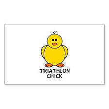 Triathlon Chick Rectangle Decal