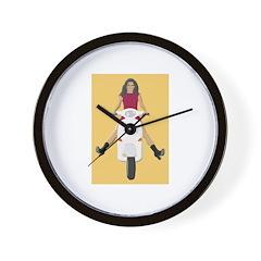 Vespa Biker Chick Wall Clock