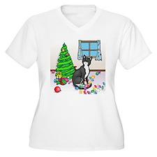 Christmas Tuxedo Cat T-Shirt