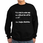 MacArthur Will to Win Quote Sweatshirt (dark)