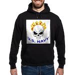 U.S. Navy Skull on Fire Hoodie (dark)
