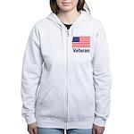 American Flag Veteran Women's Zip Hoodie