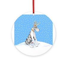 Great Dane Deer Harle Ornament (Round)