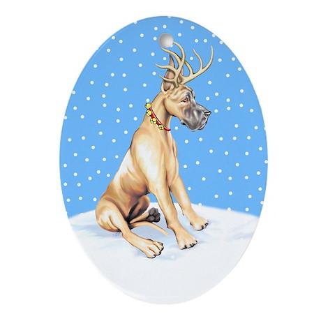 Great Dane Deer Fawn Oval Ornament