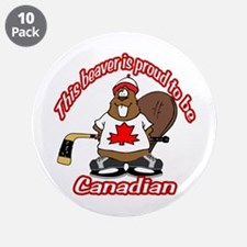 "Canadian Beaver 3.5"" Button (10 pack)"