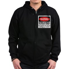 Anti-Obama Politican Warning Zip Hoodie (dark)