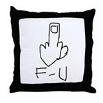 Fuck You, Middle Finger Throw Pillow