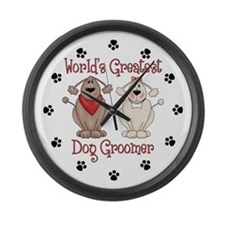 World's Greatest Dog Groomer Large Wall Clock