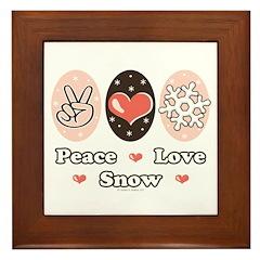 Peace Love Snow Snowflake Framed Tile