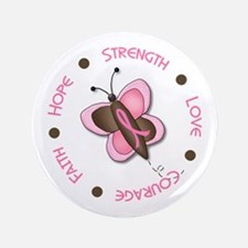 """Hope Courage 1 Butterfly 2 PINK 3.5"""" Button"""