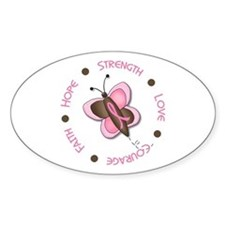 Hope Courage 1 Butterfly 2 PINK Oval Decal