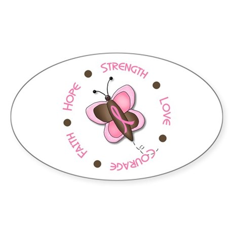 Hope Courage 1 Butterfly 2 PINK Oval Sticker
