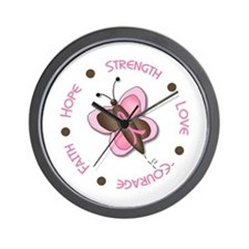 Hope Courage 1 Butterfly 2 PINK Wall Clock