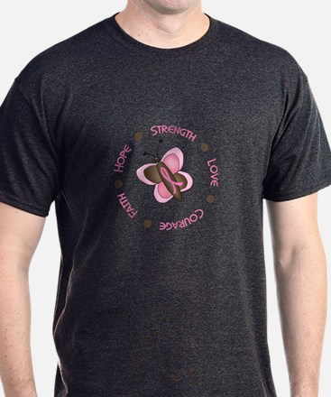 Hope Courage 1 Butterfly 2 PINK T-Shirt