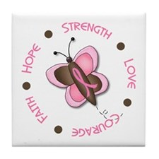 Hope Courage 1 Butterfly 2 PINK Tile Coaster