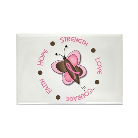 Hope Courage 1 Butterfly 2 PINK Rectangle Magnet (