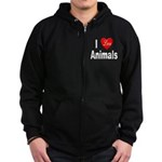 I Love Animals for Animal Lov Zip Hoodie (dark)