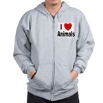 I Love Animals for Animal Lov Zip Hoodie
