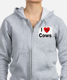 I Love Cows for Cattle Lovers Zip Hoodie