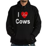 I Love Cows for Cattle Lovers Hoodie (dark)