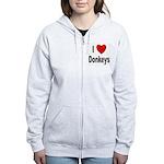 I Love Donkeys Women's Zip Hoodie