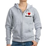 I Love Monkeys Women's Zip Hoodie