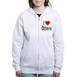 I Love Otters Women's Zip Hoodie