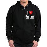 I Love Sea Lions Zip Hoodie (dark)