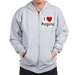I Love Penguins Zip Hoodie