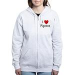 I Love Pigeons Women's Zip Hoodie