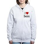 I Love Swans Women's Zip Hoodie