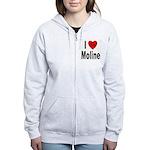 I Love Moline Women's Zip Hoodie
