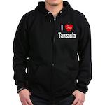 I Love Tanzania Africa Zip Hoodie (dark)