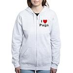 I Love Pugs Women's Zip Hoodie