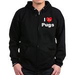 I Love Pugs Zip Hoodie (dark)