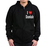 I Love Danish Zip Hoodie (dark)