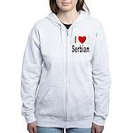 I Love Serbian Women's Zip Hoodie