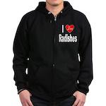 I Love Radishes Zip Hoodie (dark)