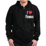 I Love Flowers Zip Hoodie (dark)