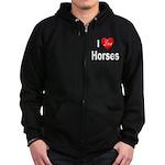 I Love Horses Zip Hoodie (dark)