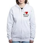 I Love Wesley Clark Women's Zip Hoodie