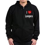 I Love Lawyers Zip Hoodie (dark)