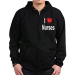 I Love Nurses Zip Hoodie (dark)