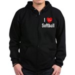 I Love Softball Zip Hoodie (dark)