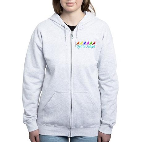 Rainbow Opt to Adopt Women's Zip Hoodie