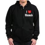 I Love Wisconsin Zip Hoodie (dark)