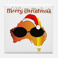 Merry Xmas Australia Tile Coaster