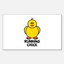 Running Chick Rectangle Bumper Stickers