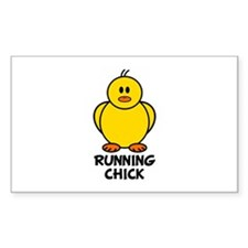 Running Chick Rectangle Stickers