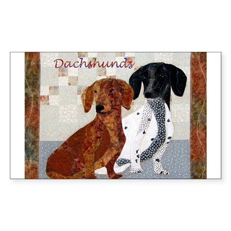 Quilted Dachshunds Rectangle Sticker